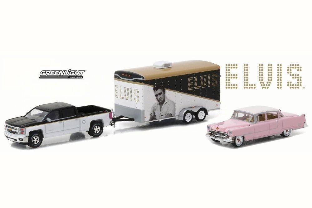 Greenlight Elvis Presley 1955 Pink Cadillac and Trailer Set w 2015 Chevy Silverado 31020A 1 64 Scale Diecast Model Toy Car