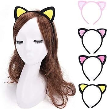 Oyfel Serre-t/ête Cheveux Bandeau Cheveux Forme de Oreilles de Chat Hairband pour Enfant B/éb/é Filles Femmes F/ête Accessoires De danniversaire des Jeux de R/ôle D/ébarbouillage 1 Pcs
