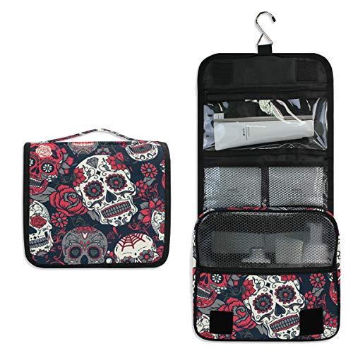 AUUXVA Hanging Toiletry Bag Flower Rose Sugar Skull Travel Cosmetics Bag Portable Toiletry Kit for Women Men]()