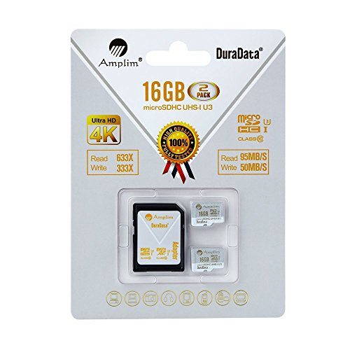 2 Pack 16GB Micro SDHC U3 Card Plus SD Adapter. Amplim Extreme Pro Class 10 UHS-I MicroSDHC 95MB/s Read 50MB/s Write. Ultra High Speed HD UHD 4K Video. Internal/External MicroSD Flash Memory Storage