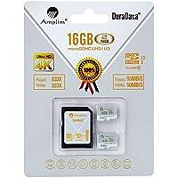 2X 16GB Micro SDHC U3 Card Plus SD Adapter Pack. Amplim Extreme Pro Class 10 UHS-I MicroSDHC 95MB/s Read, 50MB/s Write. Ultra High Speed HD UHD 4K Video. Internal/External MicroSD Flash Memory Storage