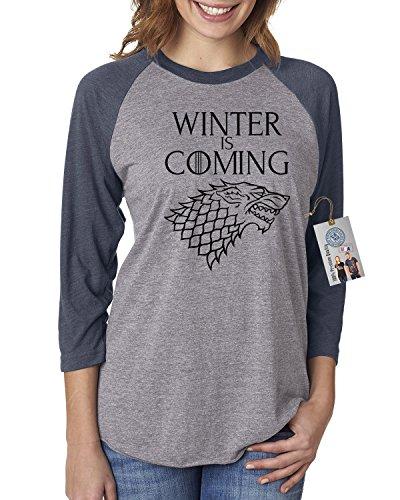 Games of Throne Winter is Coming Shirt Womens Raglan T-Shirt Navy Grey M ()