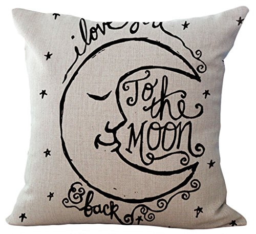 - LeavelandI Love You to the Moon and Back Cotton Throw Pillow Case Vintage Cushion Cover (16
