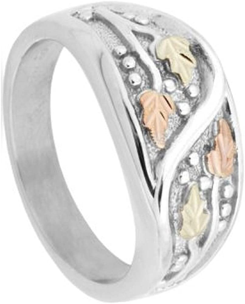 12k Green and Rose Gold Black Hills Gold Motif Mens Frosty Leaves Ring Sterling Silver Size 12.75