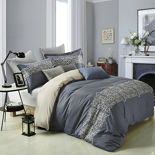 Superior Harrison 100% Cotton Slate Blue Duvet Cover with Light Gold Scrolling Embroidery and 2 Pillow Shams, Reversible Bed Set  King/California King ()