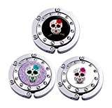 Purse Hooks Case Day Of The Sugar Skull Owl Set of 3 Pcs Personalized Hook