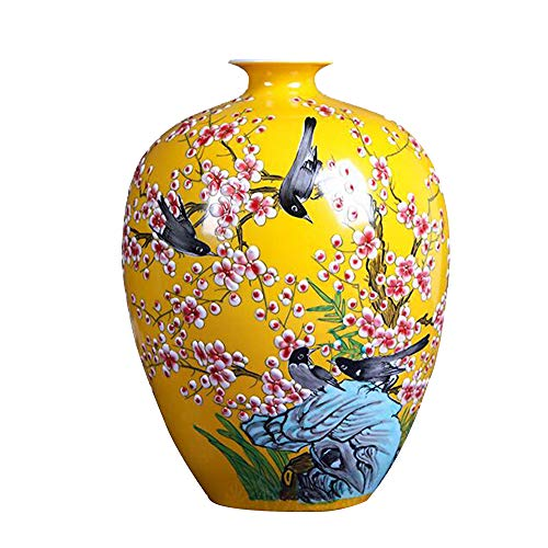 Ceramic Vase,Home Living Room TV Cabinet Next to The vase Hand-Painted Colorful Flower Arrangement vase Ceramic Yellow