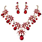 EVER FAITH Rhinestone Crystal Prom Flower Cluster Teardrop Necklace Earrings Set Red Gold-Tone
