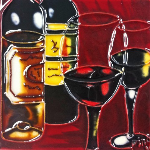 4 In Tile (Continental Art Center SD-047 4 by 4-Inch Dark Wine Set Ceramic Art)