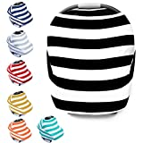 "Multi-Use Stretchy Ultrasoft Cotton Baby Car Seat Canopy, Nursing Cover, High Chair Cover, Shopping Cart Cover, Infinity Scarf with Bonus Drawstring Bag ""The Zebra"""