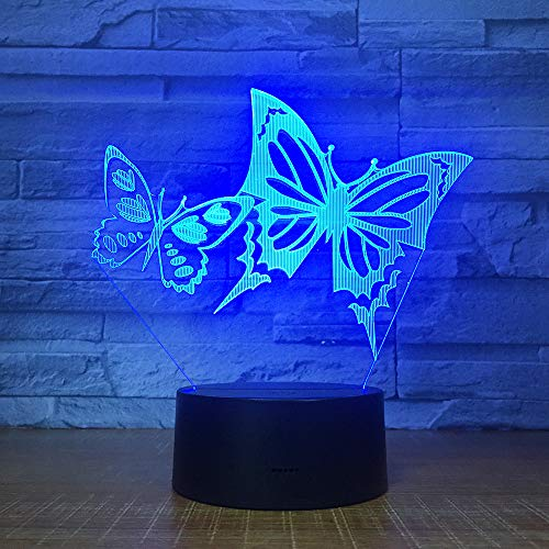 3D Butterfly Night Light Table Desk Optical Illusion Lamps 7 Color Changing Lights LED Table Lamp Xmas Home Love Brithday Children Kids Decor Toy Gift