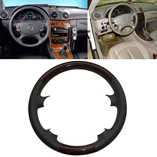Mercedes Wood Leather Steering Wheel (Grey Leather Brown Wood Steering Wheel Protector Cover Cap for Mercedes Benz 2003-2009 W209 CLK-Class CLK320 CLK500,R230 SL SL350 SL500 SL600,W219 CLS500 CLS550)