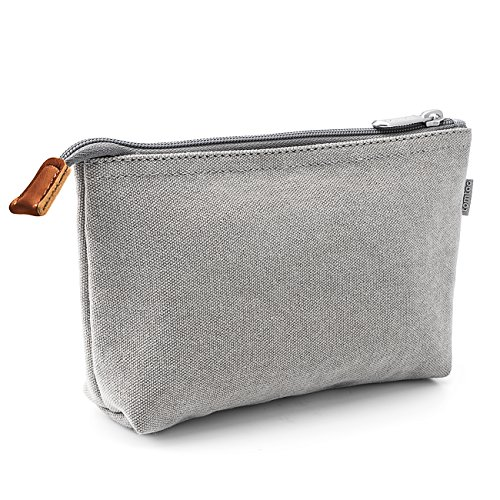 Tomtoc Portable Canvas Storage Pouch Bag Case Accessories Organizer for MacBook Laptop Mouse, Power Adapter, Cables, Cellphone, SSD, HDD Enclosure, Power Bank – Light Gray