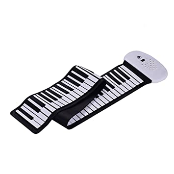 Muslady Electronic Roll Up Piano 88 teclas, Teclado de Silicona MIDI Altavoz Estéreo Incorporado Batería
