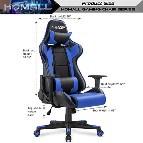 Homall Gaming Chair Office Chair High Back Computer Chair Leather Desk Chair Racing Executive Ergonomic Adjustable Swivel Task Chair with Headrest and Lumbar Support (Blue)