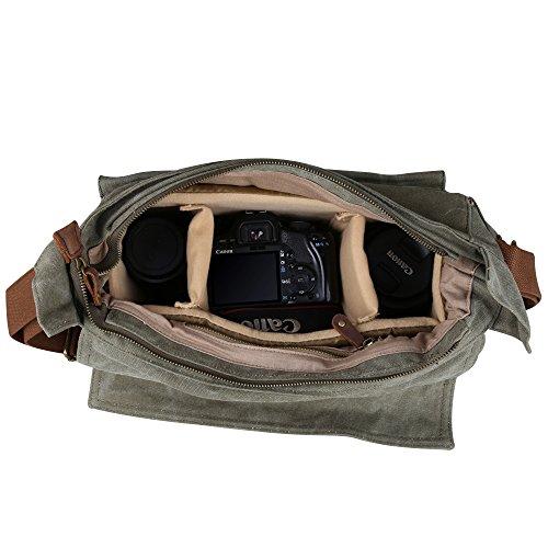 f1647c4a4 Kattee Men's Canvas Cow Leather DSLR SLR Vintage Camera Shoulder Messenger  Bag Light Green