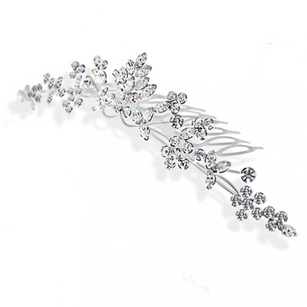 Bling Jewelry Rhinestone Crystal Princess Bridal Tiara Comb Silver Plated HAP-12-3AV-BJ