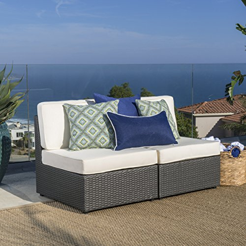 (GDF Studio) Santa Cruz Outdoor Grey Wicker Armless Sectional Sofa Seat with White Water Resistant Cushions (Set of 2) by Christopher Knight Home (Armless Sectional)