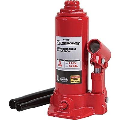 Strongway Hydraulic Bottle Jack - 4-Ton Capacity, 7 1/2in.-14 5/8in. Lift Range
