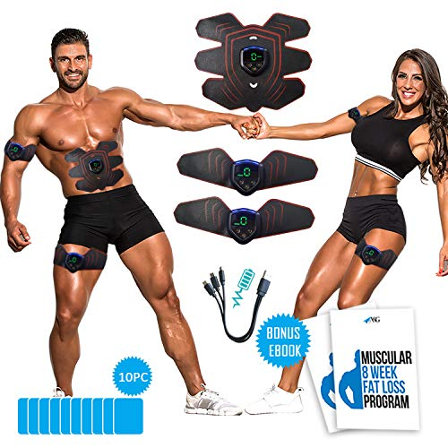 Ab Stimulator-Muscle Stimulator, Weight Loss Fitness Equipment- Rechargeable, Abs Stimulator- Muscle Training Body Workout- Home Gym for Men Women, Extra Gel-Pads &Free Ebook