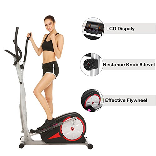 Creine Elliptical Trainer Compact Magnetic Control Mute Elliptical Trainer with LCD Monitor for Home and Office