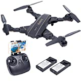 HuiShuTek FPV Drone Camera 720P HD Live Video WiFi 2.4GHz 6-Axis Gyro, Optional Sight, One Key Return Headless Mode, Altitude Hold,RTF RC Quadcopter Beginners,Foldable