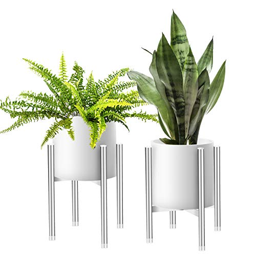 Plant Stands Indoor Plant Stand Stainless Steel Flower Pot Holder Indoor Potted Rack Modern Home Decor, Up to 10 Inch Planter (Plant and Pot NOT Included), Silver (1014)