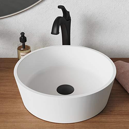- Kraus KSV-1MW Natura Bathroom Sink, Round 15 Inch