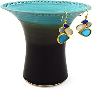 product image for Earring Holder Jar in Aqua Splash, American Made Ceramic Stoneware Pottery