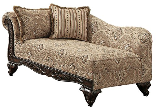 - Homelegance Thibodaux Traditional Style Floral Chaise, Brown