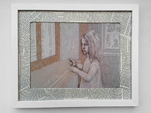 Geschenk für Bücherliebende und Lesefreunde: Buch Kunstdruck im handgemachten Passepartout aus zerliebten, vergilbten Buchseiten. Ein Mädchen mit einem Lesezeichen blickt verträumt durch ein Fenster aus Buchseiten in die Welt der Geschichten und der Bücher.