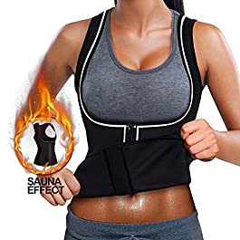 Reflective Running Sweat Sauna Vest, Women Waist Trainer Corset Neoprene Tank Top for Weight Loss Slimming Body Shaper