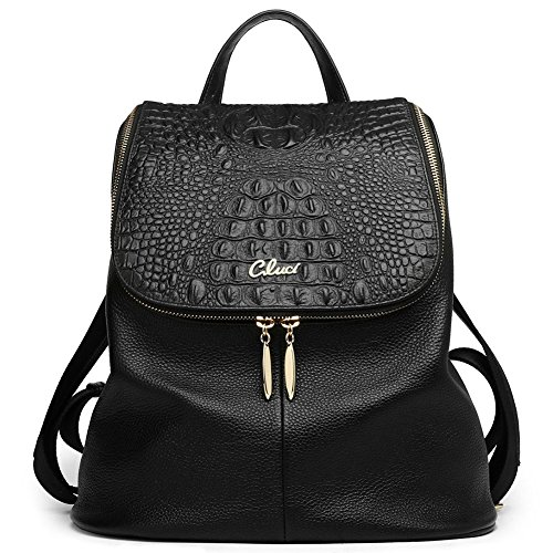Women Backpack Purse Real Genuine Leather School Backpacks Ladies Travel Bag black by Cluci