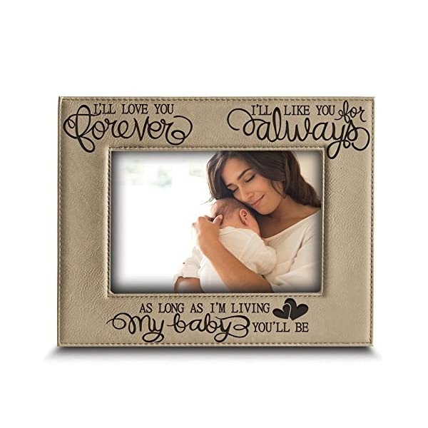 BELLA BUSTA – I'll Love You Forever, I'll Like You for Always, as Long as I'm Living, My Baby You'll be – Engraved Leather Picture Frame- Family Frame-New Baby Frame-Couple Frame (5″ x 7″ Horizontal)