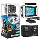 """4K Action Camera, 2.0"""" LCD Display With Front Screen 4K WiFi Ultra HD Waterproof Sport Camera with 160 Wide-Angle Lens, Including Full Accessories Kits and Waterproof Case(grey)"""