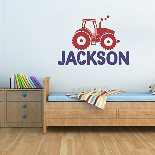 BATTOO Personalized Name Wall Decal, Custom Name Tractor Wal