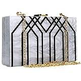 Evening Handbag Box Acrylic Clutch Stripes Shoulder Bag for Party (Ivory)