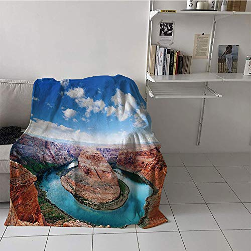 (alilihome Children's Blanket Soft Digital Printing Blanket (70 by 90 Inch,Room Decorations Collection,Horse Shoe Bend North Rim Grand Canyon Page Arizona USA Famous Tourist Attractions,Sandy Brown)