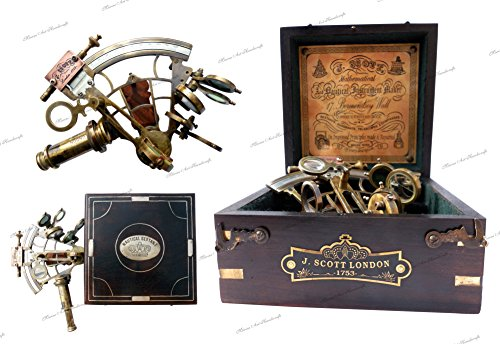 Brass Ship History Sextant with Hardwood Box. C-3082