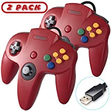 2 Pack Retro Classic USB N64 Controller Game Pad, kiwitatá N64 Bit USB PC Wired Game Controllers Joystick for Windows PC and Mac Linux Retro Pie Red