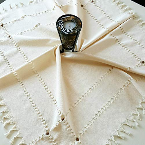 Antique Parlor Table - Secret Sea Collection Handmade Cotton Square Tablecloth Decorated with Wooden Beads (53