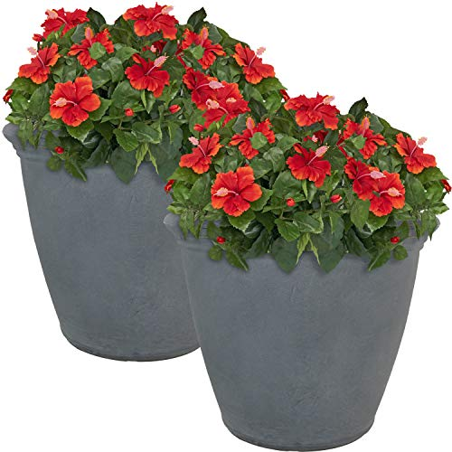 Sunnydaze Anjelica Flower Pot Planter, Outdoor/Indoor Heavy-Duty Double-Walled Polyresin with UV-Resistant Slate Finish, Set of 2, Large 20-inch Diameter