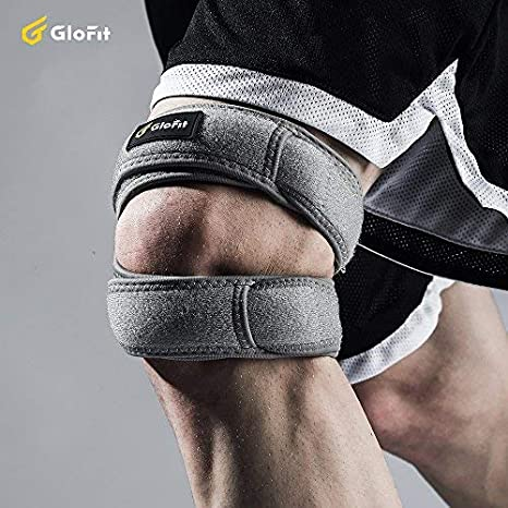for Running Glofit Patella Knee Strap Jumper Patellar Tendon Support Strap with 3mm Silica Pad and Adjustable Neoprene Double Strap for Extra Support Stability and Knee Pain Relief Arthritis