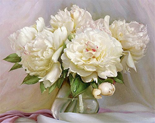 YEESAM ART Paint by Number Kits for Adults Kids - White Peonies 16x20 inch Linen Canvas (Without Frame) (Linen Peony)