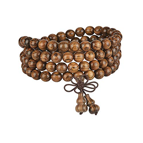 anzhongli mala Beads Bracelet 108 8mm Beaded Necklace Sandalwood Elastic (Gourd - Tiger Wood)