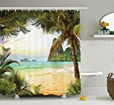Ocean Decor Shower Curtain Set by Ambesonne, Palm Coconut Trees and Ocean Waves across Mountains on Paradise Island Beach Image, Bathroom Accessories, 84 Inches Extralong, Green Brown Cream