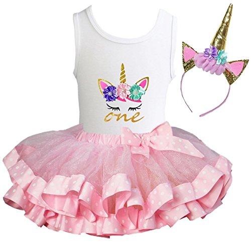 Kirei Sui Girls Pink Polka Dots Satin Trimmed Tutu Birthday Unicorn Dress