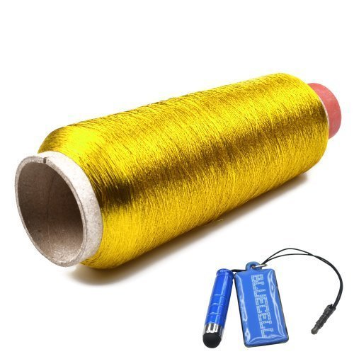 Bluecell Metallic Gold Color 3000 Yards Polyester Sewing Thread Spools for Embroidery (Gold Metallic Thread)