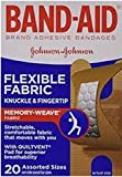 Band-Aid Flexible Fabric Adhesive Bandages, Knuckle and Fingertip, Pack of 3, 20 Count each (Total 60 Count)