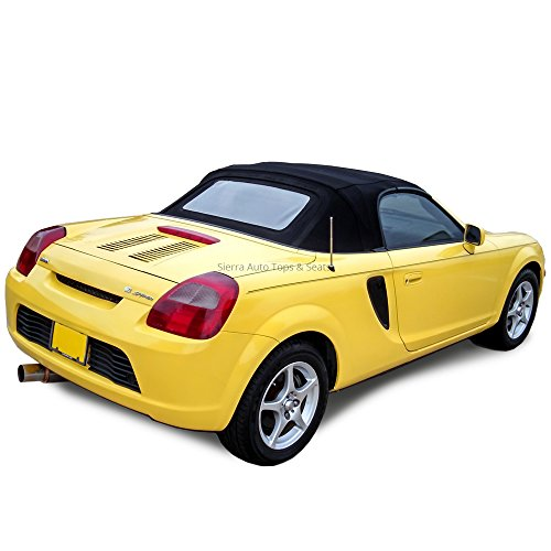 Toyota MR2 Convertible Top Made From Cabrio Grain Vinyl with Heated Glass Window Black (Convertible Top Hold Down Cables)